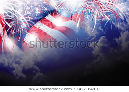 blue sky with fireworks firecrackers white clouds Stock photo © lunamarina