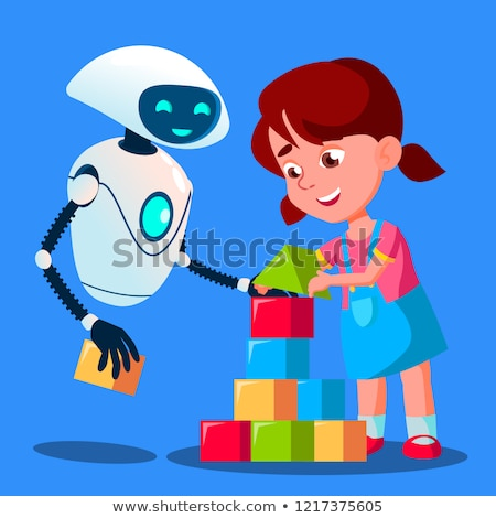 Stockfoto: Robot Baby Sitter Playing Cubes With Child Vector Isolated Illustration