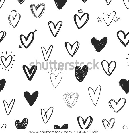 végtelen · minta · szív · kézzel · rajzolt · tinta · csomagolópapír · poszter - stock fotó © kollibri