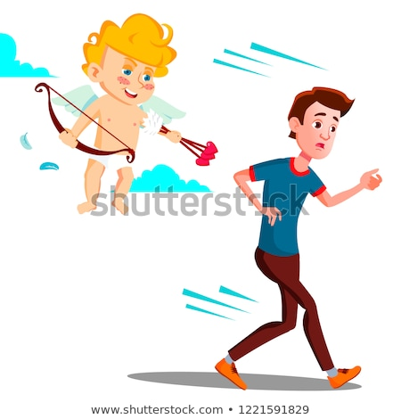Frightened Teen Guy Running From Valentine s Day Cupid Vector. Illustration Stock photo © pikepicture