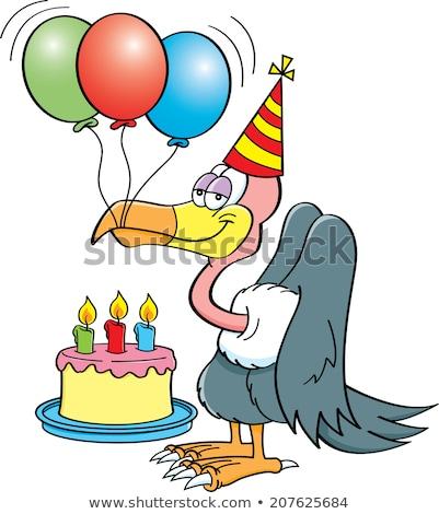 Cartoon buzzard with a birthday cake. Stock photo © bennerdesign