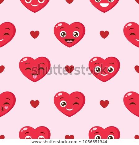 Sevgililer günü kalp yüzler duvar kağıdı Stok fotoğraf © ikopylov