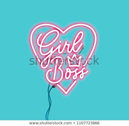 Dziewczyna szef neon moda promocji projektu Zdjęcia stock © Anna_leni