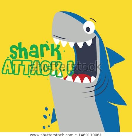 акула Cartoon желтый природы морем синий Сток-фото © doomko