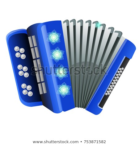 Blue accordion with patterns snowflake isolated on white background. Sample of poster, party invitat Stock photo © Lady-Luck