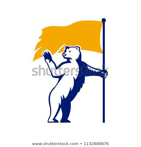 Kutup ayısı bayrak maskot ikon Stok fotoğraf © patrimonio