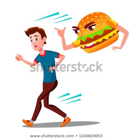 Angst teen guy weg Hamburger Vektor Stock foto © pikepicture