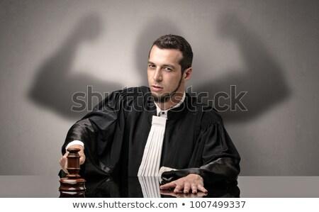 jonge · rechter · toga · knap · zwarte - stockfoto © ra2studio