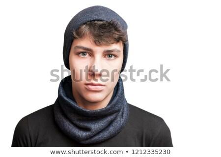 portre · genç · kazak · eşarp · yalıtılmış · bej - stok fotoğraf © deandrobot