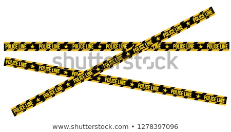 Crossed Police Line Tapes for restriction and dangerous zones with sign and sheriff star, crime plac Stock photo © kyryloff