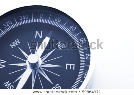 Foto stock: Bússola · branco · cópia · espaço · magnético · azul · agulha