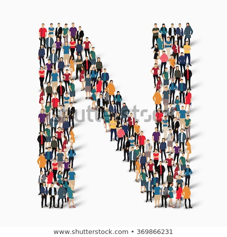 N betű emberek ikon szimbólum vektor férfi Stock fotó © blaskorizov