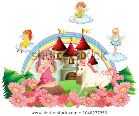 fairies and unicorn at the palace garden stock photo © colematt