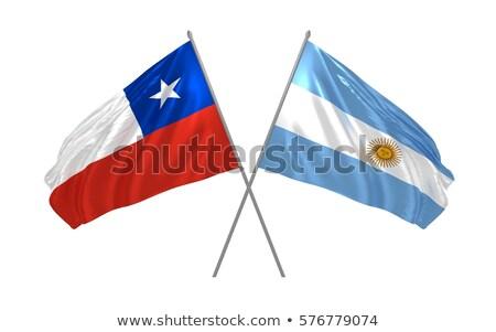 Kettő integet zászlók Argentína Chile izolált Stock fotó © MikhailMishchenko