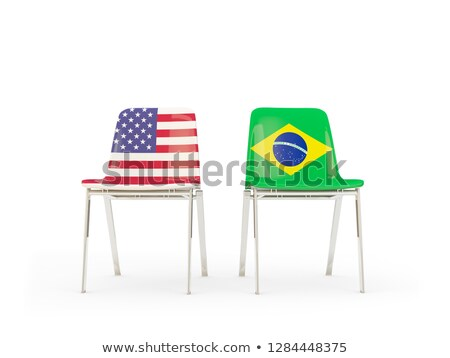 Dwa krzesła flagi Brazylia odizolowany biały Zdjęcia stock © MikhailMishchenko