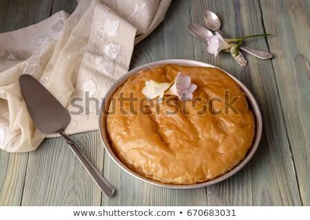 Fatia grego creme torta caseiro açúcar de confeiteiro Foto stock © mpessaris