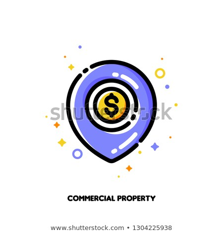 Icon of map pin with golden coin for commercial real estate Stock photo © ussr