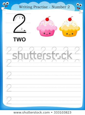 Número dois escrita guiá ilustração menina Foto stock © colematt