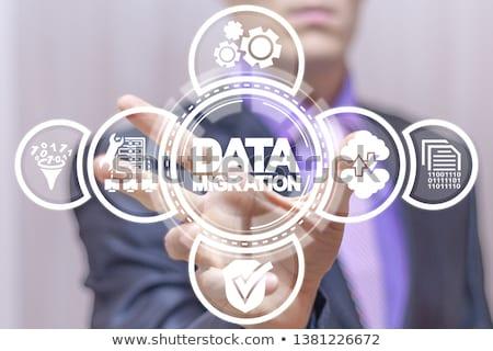 Adat vándorlás szöveg mobil táblagép asztal Stock fotó © Mazirama