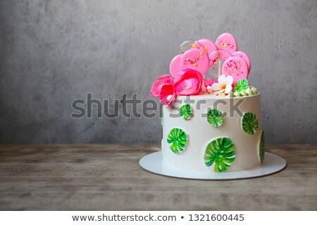 ünnep torta levelek terv ízletes ostya Stock fotó © dashapetrenko