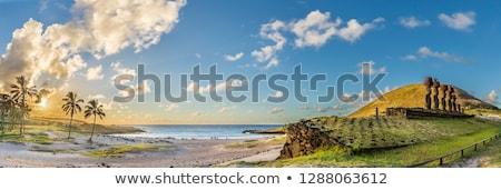 Pálmafák tengerpart Húsvét-szigetek Chile húsvét tájkép Stock fotó © daboost