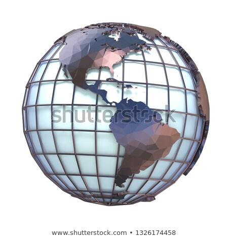 polygonal style illustration of earth globe america view 3d stock photo © djmilic