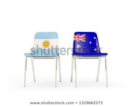 Zwei Stühle Fahnen Argentinien Australien isoliert Stock foto © MikhailMishchenko
