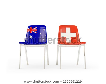 Two chairs with flags of Australia and switzerland Stock photo © MikhailMishchenko