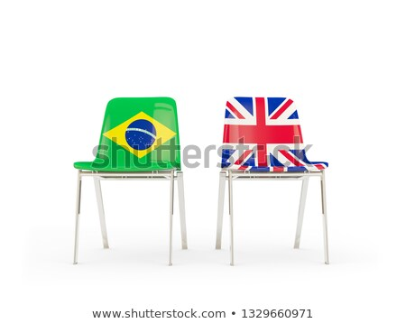 Two chairs with flags of Brazil and united kingdom Stock photo © MikhailMishchenko