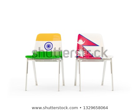 Two chairs with flags of India and nepal Stock photo © MikhailMishchenko