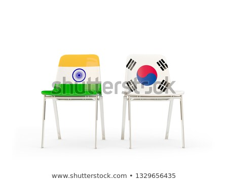 Two chairs with flags of India and south korea Stock photo © MikhailMishchenko