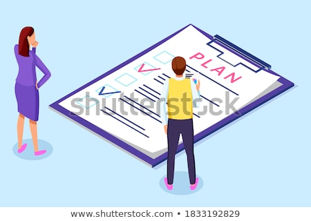 Harmonogram planowania schowek strategia biznesowa na zewnątrz pracowników Zdjęcia stock © robuart