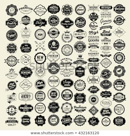 Foto stock: Produto · qualidade · retro · vintage · distintivo · etiqueta