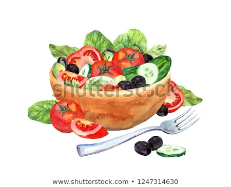 Tomato , cucumber and salad on green background. Watercolor illustration Stock photo © ConceptCafe