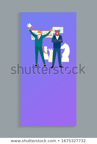 Business Giants Tiger and Beer Boss Suits Isolated Foto stock © robuart