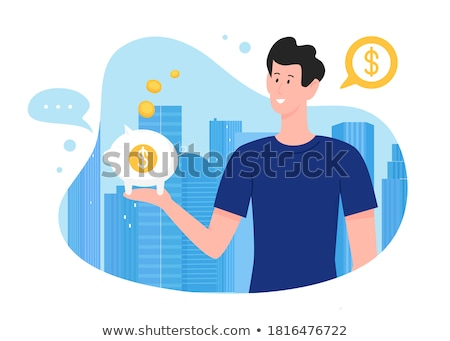 Crowdfunding Pig and Gold Coin, Money on Hand Foto stock © robuart