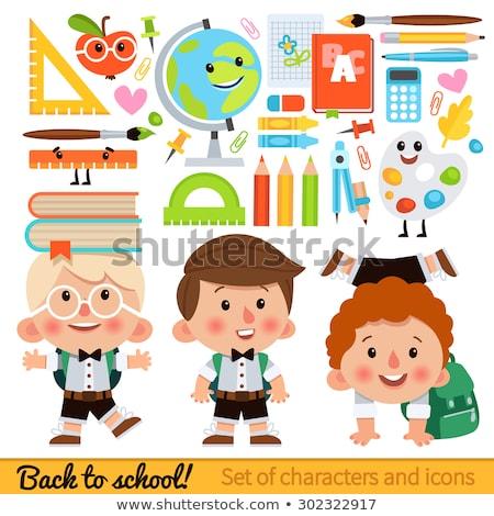 Set of vector cartoon icons on a school theme Stock photo © heliburcka