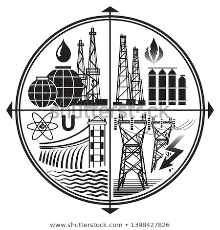 Industry Emblem of Energy Resources: Oil, Gas, Electricity, Nuclear And Hydro Power.  Stock photo © Glasaigh