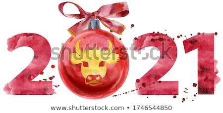 Akwarela ilustracja nowy rok dwa tysiąc dwadzieścia Zdjęcia stock © Natalia_1947