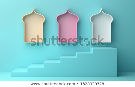 eid mubarak blue and yellow banner with image space Stock photo © SArts