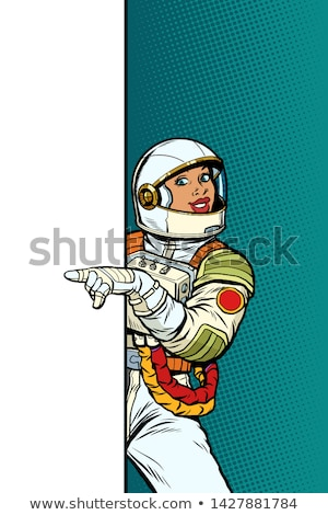 african Girl woman astronaut. Point to copy space poster Stock photo © studiostoks