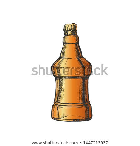 Hand Drawn Blank Embossed Bottle Of Beer Vector Stock photo © pikepicture