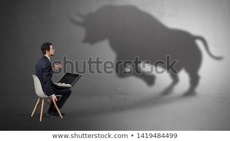 Zakenman aanbieden reusachtig stier schaduw Stockfoto © ra2studio