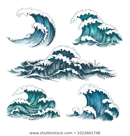 Kroki sıçrama deniz dalga ayarlamak vektör Stok fotoğraf © pikepicture