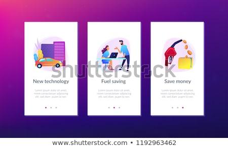 fuel saving and gas mileage ui ux app interface template stock photo © rastudio