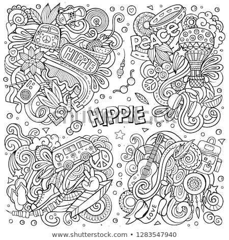line art vector hand drawn doodles cartoon set of hippie combinations of objects stock photo © balabolka