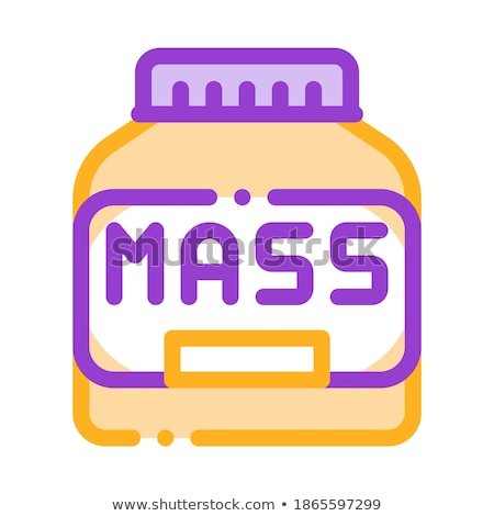 mass bottle sport nutrition vector thin line icon stock photo © pikepicture