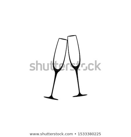 Champagne bril huwelijksceremonie vector icon dun Stockfoto © pikepicture