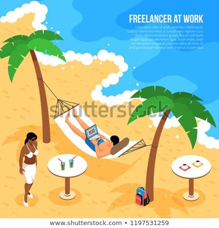 Afgelegen werk online dame hangmat freelance Stockfoto © robuart