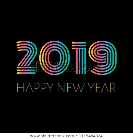 happy new year ribbon banner in bright colorful style stock photo © foxysgraphic